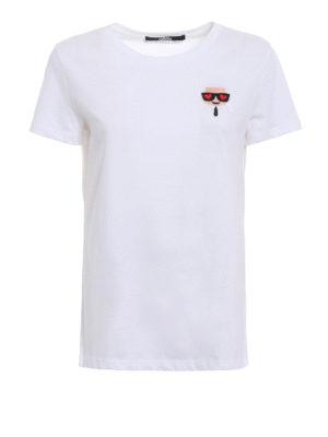 Karl Lagerfeld: t-shirts - Ikonik Emoji Karl white T-shirt
