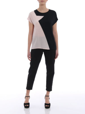 Karl Lagerfeld: t-shirts online - Silk star panelled T-shirt