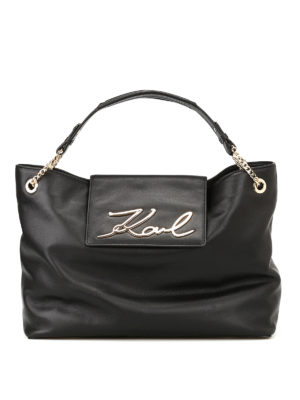 Karl Lagerfeld: totes bags - K/Signature soft leather tote