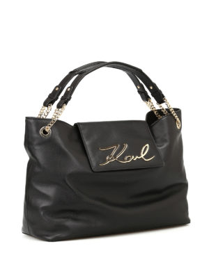 Karl Lagerfeld: totes bags online - K/Signature soft leather tote