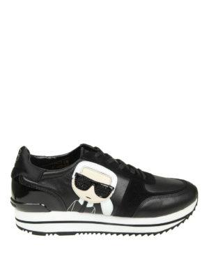 KARL LAGERFELD: sneakers - Sneaker in pelle e camoscio con patch Karl