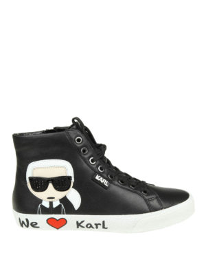 KARL LAGERFELD: sneakers - Sneaker alte in pelle con patch Karl
