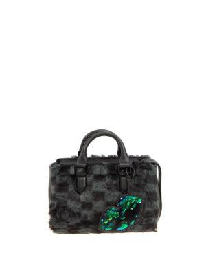 Kendall + Kylie: bowling bags - Check faux fur bowling bag