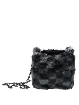 Kendall + Kylie: cross body bags - Check print fur cross body