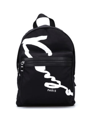 Kenzo: backpacks - Signature nylon medium backpack