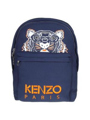 KENZO: zaini - Zaino Tiger grande in neoprene blu navy