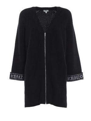 KENZO: cardigan - Cardigan over nero in misto cotone con logo