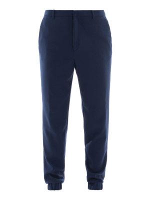 KENZO: pantaloni casual - Joggers blu con triangolo in pelle