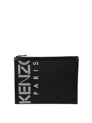 KENZO: pochette - Clutch A4 Kenzo Paris in nylon con zip