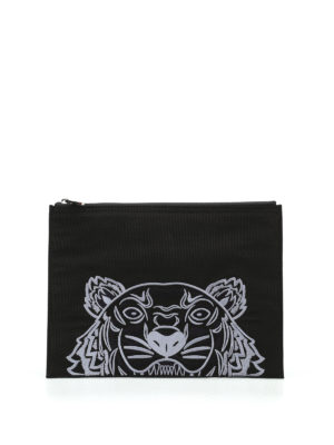 Kenzo: clutches - A4 Tiger black canvas clutch