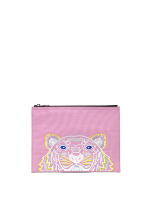 Kenzo: clutches - A4 Tiger pink canvas clutch