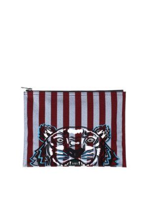 Kenzo: clutches - A4 Tiger striped clutch