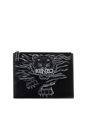 Kenzo: clutches - Crawling Tiger leather clutch