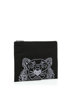 Kenzo: clutches online - A4 Tiger black canvas clutch