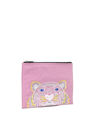 Kenzo: clutches online - A4 Tiger pink canvas clutch