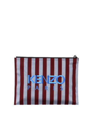 Kenzo: clutches online - A4 Tiger striped clutch