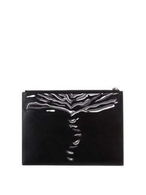 Kenzo: clutches online - Crawling Tiger leather clutch