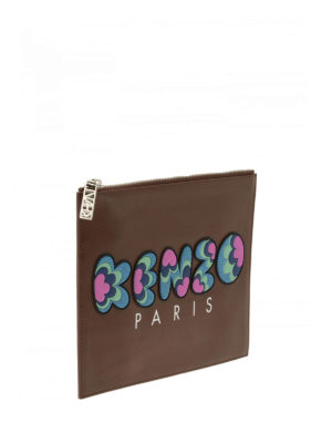 Kenzo: clutches online - Rubber logo leather clutch