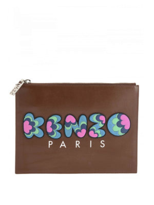 Kenzo: clutches - Rubber logo leather clutch