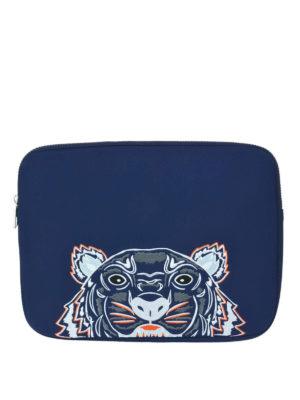 KENZO: pochette - Busta per computer Tiger blu