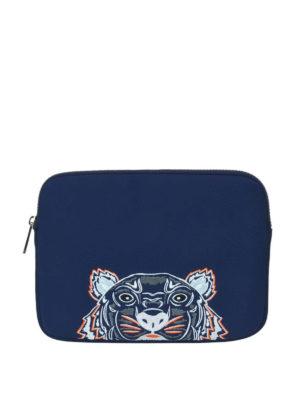 KENZO: pochette - Busta per tablet Tiger blu