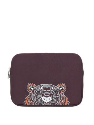 KENZO: pochette - Busta per tablet Tiger bordeaux