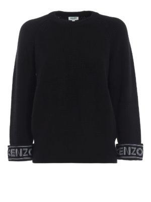KENZO: maglia collo rotondo - Girocollo nero in misto cotone con logo