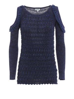 Kenzo: crew necks - Cut out ruffle detailed sweater