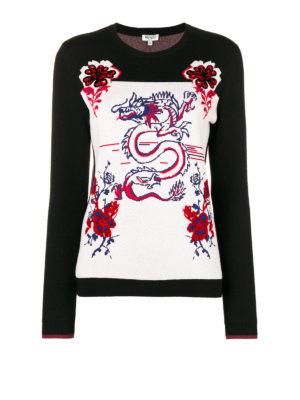KENZO: maglia collo rotondo - Girocollo Dragon in jacquard di lana e cotone
