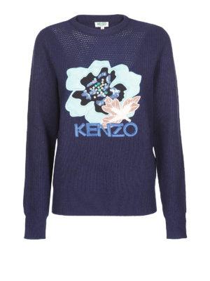 KENZO: maglia collo rotondo - Caldo girocollo blu con patch e strass