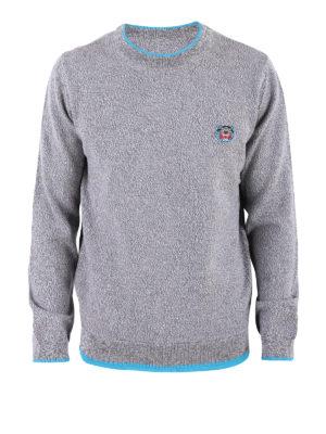 KENZO: maglia collo rotondo - Pull in lana melange con bordi azzurro fluo