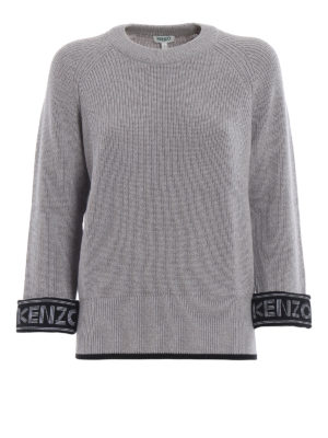KENZO: maglia collo rotondo - Girocollo grigio in misto cotone con logo