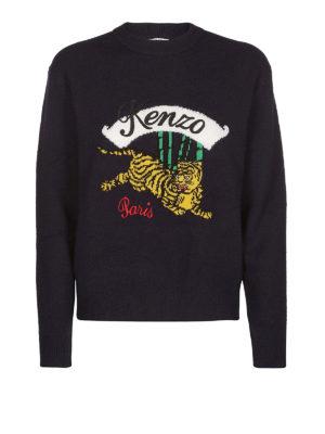 KENZO: maglia collo rotondo - Pull blu in lana jacquard Jumping Tiger