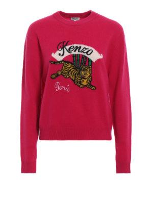 KENZO: maglia collo rotondo - Pull in lana jacquard Jumping Tiger