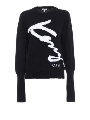 Kenzo: crew necks - Kenzo Signature intarsia sweater