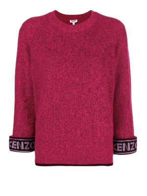 KENZO: maglia collo rotondo - Maglia girocollo in cotone con logo sui polsi