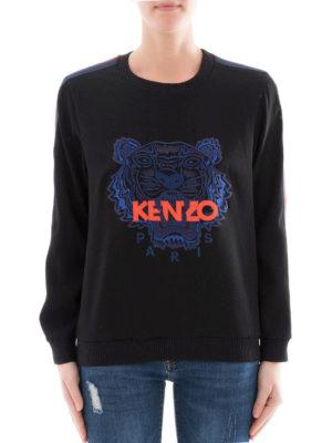 Kenzo: crew necks online - Contrasting bands crepe crewneck