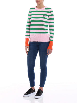 Kenzo: crew necks online - Pink and green striped sweater