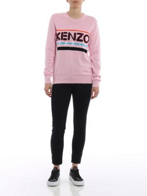 Kenzo: crew necks online - Terrycloth logo pink cotton sweater