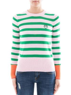 Kenzo: crew necks online - Tiger logo green stripes crewneck