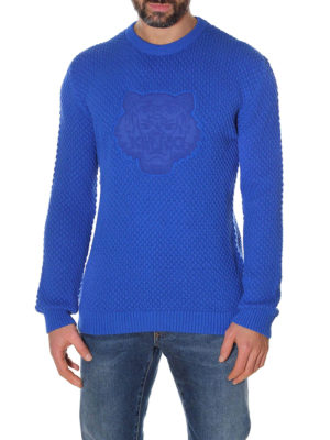 Kenzo: crew necks online - Tiger patch comfort cotton sweater