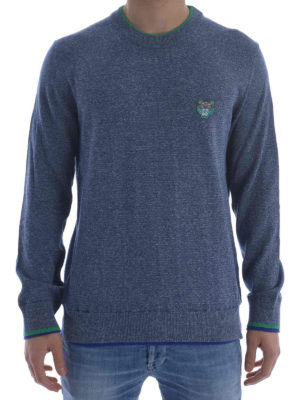 Kenzo: crew necks online - Tiger patch cotton sweater