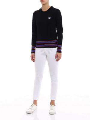 Kenzo: crew necks online - Tiger three-tone sweater