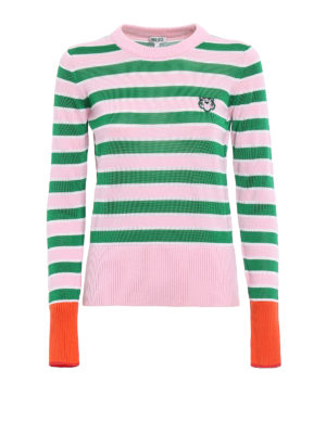 Kenzo: crew necks - Pink and green striped sweater
