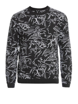Kenzo: crew necks - Sketch pattern cotton sweater