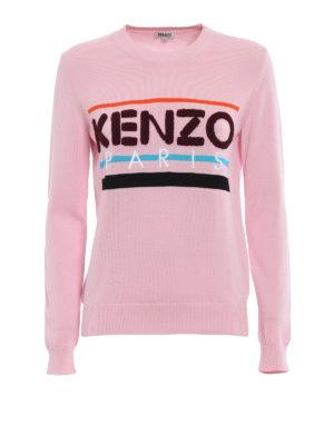Kenzo: crew necks - Terrycloth logo pink cotton sweater