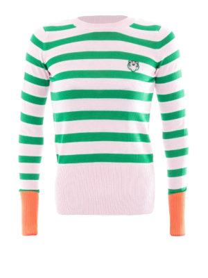 Kenzo: crew necks - Tiger logo green stripes crewneck