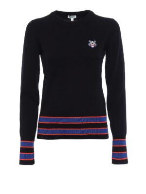Kenzo: crew necks - Tiger three-tone sweater