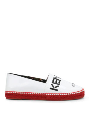 Kenzo: espadrilles - Embroidered logo patent espadrilles