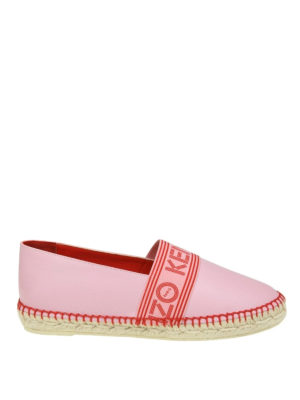 Kenzo: espadrilles - Logo band pink leather espadrilles